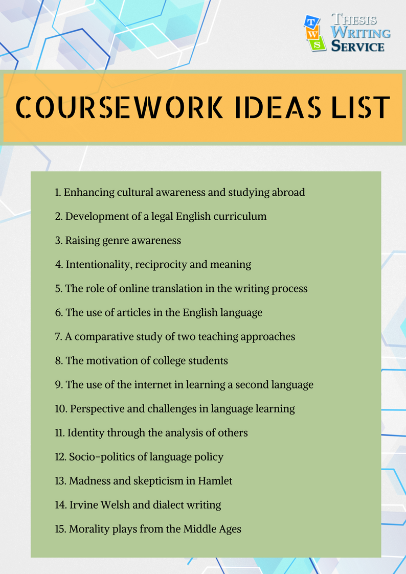 coursework ideas list